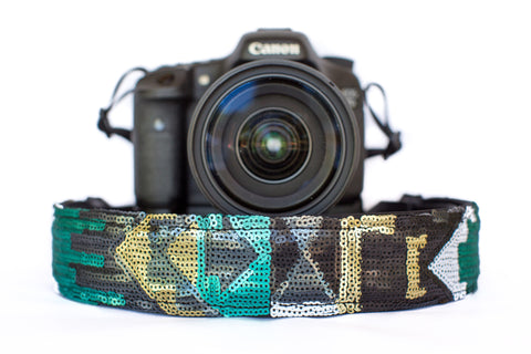 Sequin Camera Strap Teal Aztec