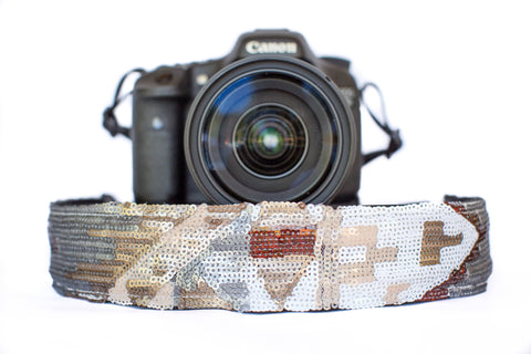 Sequin Camera Strap White Aztec