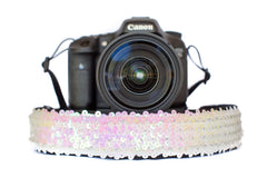 Sequin Camera Strap Unicorn White