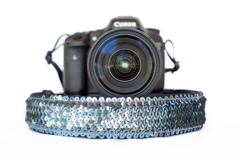 Sequin Camera Strap Gunmetal Grey