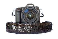 Sequin Camera Strap Black