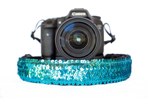Sequin Camera Strap Turquoise