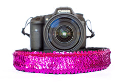 Sequin Camera Strap Fuchsia