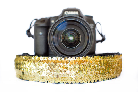 Sequin Camera Strap Gold