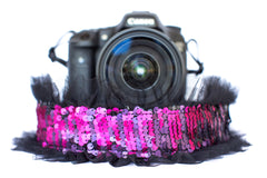Sequin Camera Strap Color Changing Fuchsia to Black with Black Tulle