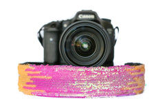 Sequin Camera Strap Iridescent Fuchsia and Orange