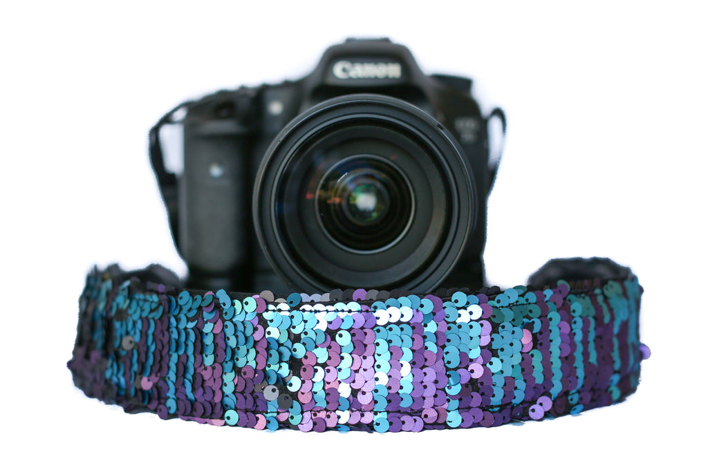 Sequin Camera Strap Color Changing Mermaid Teal to Black