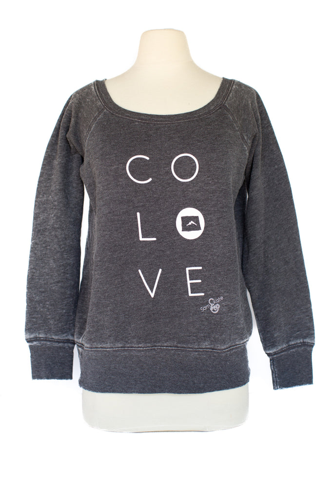 z CO LOVE SCOOP NECK ACID WASH SWEATSHIRT