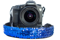 Sequin Camera Strap Blue