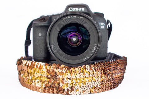 Sequin Camera Strap Bronze