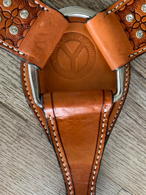 Crystal stamped leather breast-collar by circle y