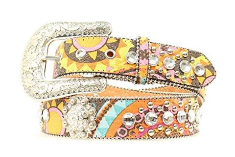 BLAZIN ROXX WOMEN'S COLORFUL SUNSHINE PAISLEY RHINESTONE CONCHO BELT