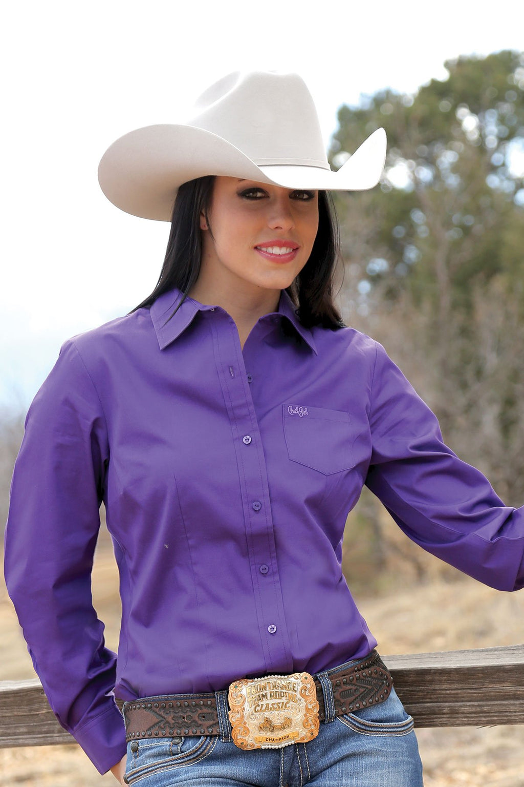 CRUEL GIRL Women's Purple Button-Down Western Shirt