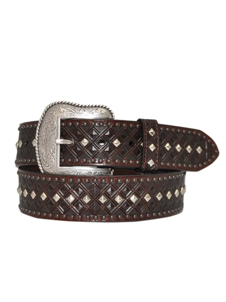 Dan Post cherry leather studded men's belt