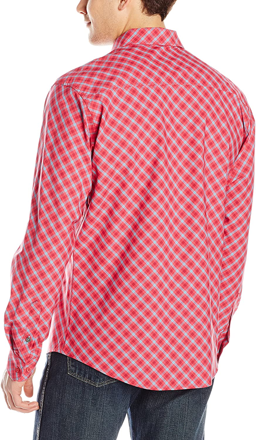 Men's Long Sleeve  Cinch Cranberry Plaid Modern Fit