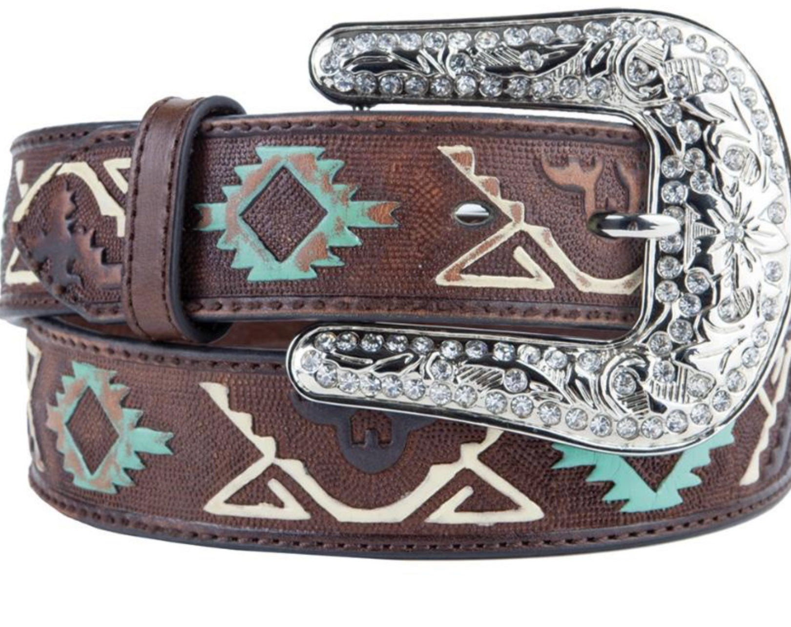 Nocona Western Womens Belt Leather Thunderbird Embossed Brown