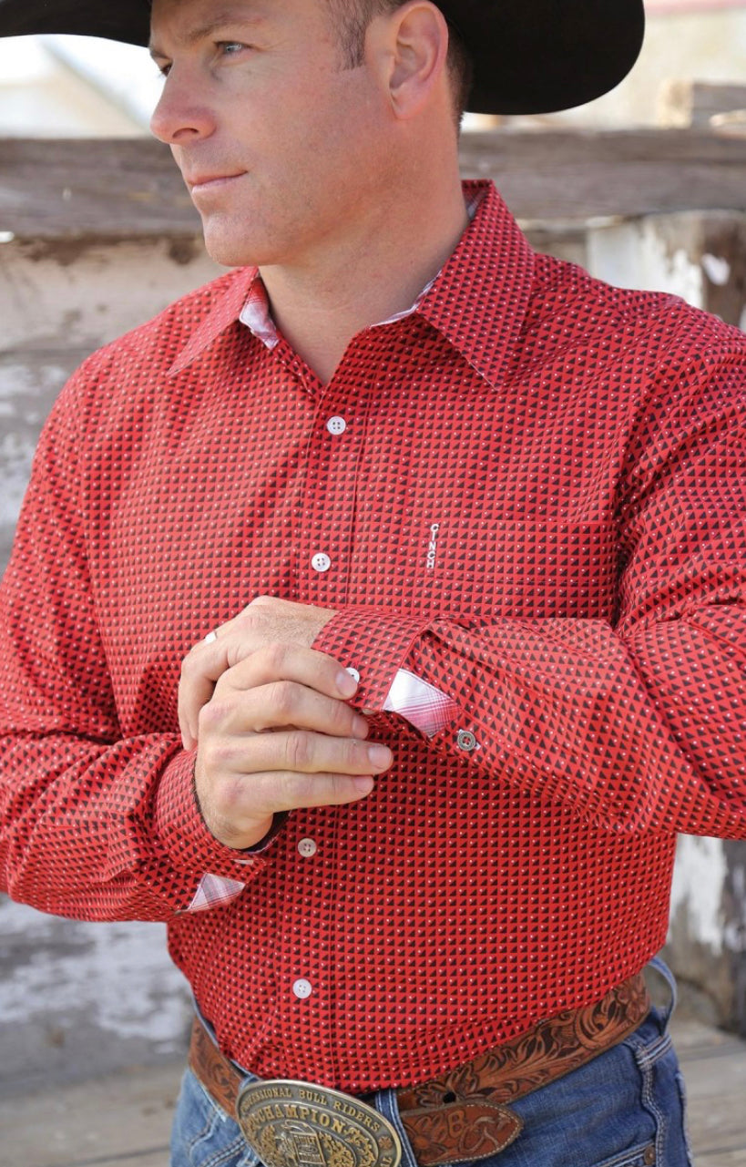 MEN'S RED GEOMETRIC PRINT BUTTON-DOWN WESTERN SHIRT