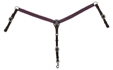 Circle Y Leather Breast Collar With Crystal Spots And Colored Braid Border