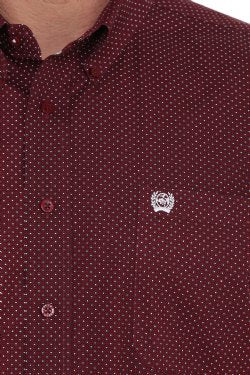 Cinch MEN'S BURGUNDY GEOMETRIC PRINT BUTTON-DOWN WESTERN SHIRT