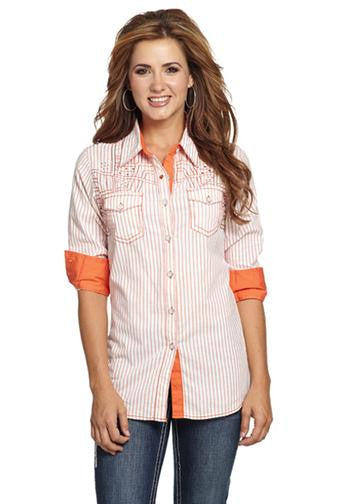 Cowgirl up peach enzyme washed shirt