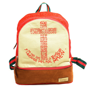 "True Joy BackPack ""HOLY FATHER"" Brown Leather and Red"
