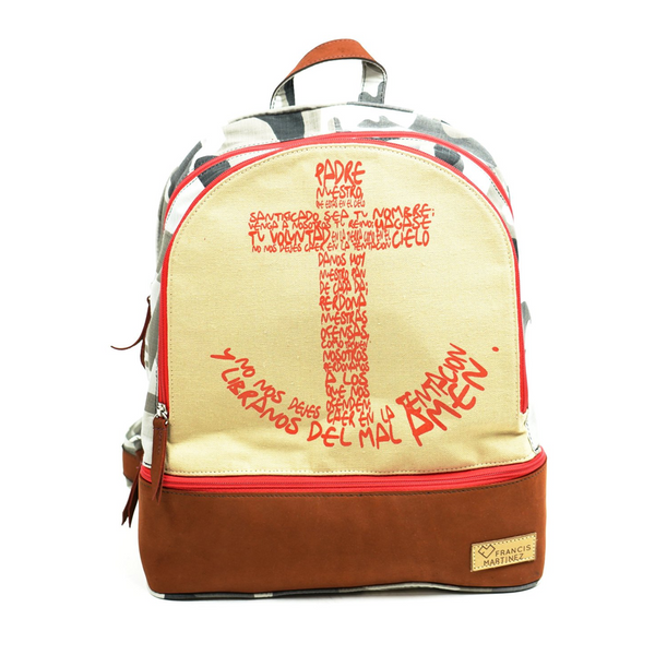 "True Joy BackPack ""HOLY FATHER"" Brown Leather Grey Camo Red Cruz"
