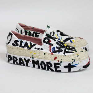 TRUE JOY WHITE SHOES - PRAY. WAIT. TRUST. LOVE