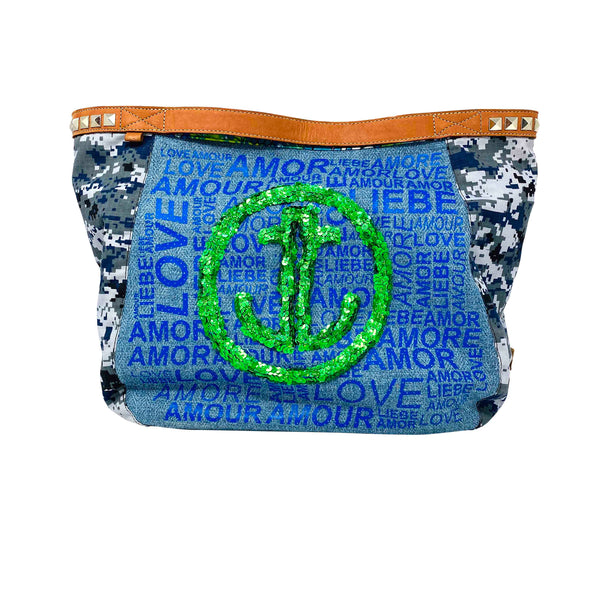 True Joy logo sequin handbag