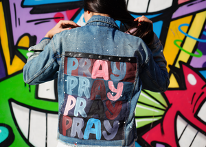TRUE JOY JEAN JACKET OVERSIZED - PRAY PRAY PRAY