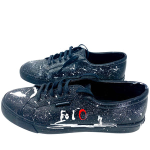 Superga black shoes painted