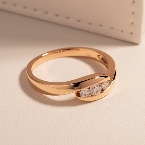 18ct Rose Gold .24ct Diamond Solstice Ring - Walker & Hall