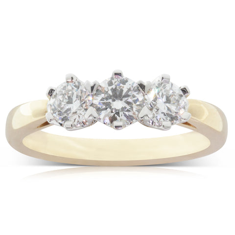 18ct Yellow & White Gold .95ct Diamond Trilogy Ring - Walker & Hall