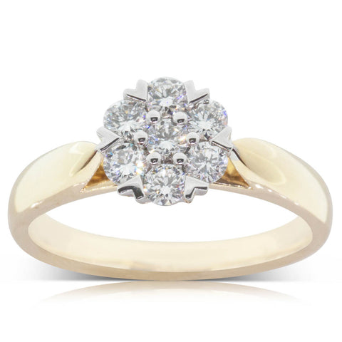 18ct Yellow Gold .70ct Diamond Lotus Ring - Walker & Hall