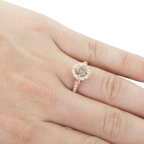 18ct Rose Gold .80ct Champagne Diamond Ring - Walker & Hall