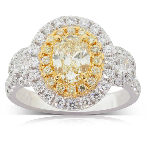 18ct White & Yellow Gold 1.01ct Yellow Diamond Ring - Walker & Hall