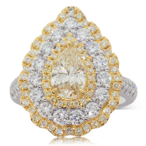 18ct White & Yellow Gold 1.04ct Yellow Diamond Ring - Walker & Hall