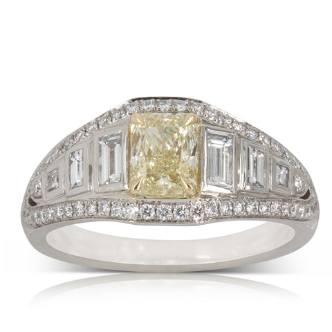 Platinum .81ct Yellow Diamond Ring - Walker & Hall