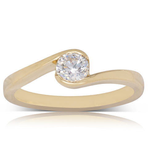 18ct Yellow Gold .40ct Diamond Embrace Ring - Walker & Hall
