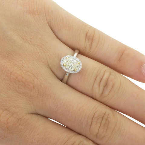 18ct White & Yellow Gold 1.27ct Yellow Diamond Ring - Walker & Hall