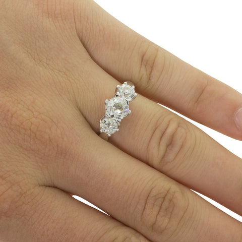18ct White Gold 2.29ct Diamond Trilogy Ring - Walker & Hall