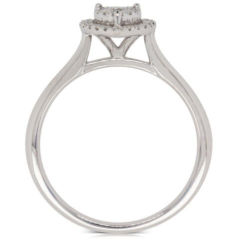 9ct White Gold .25 Diamond Pear Saturn Ring - Walker & Hall