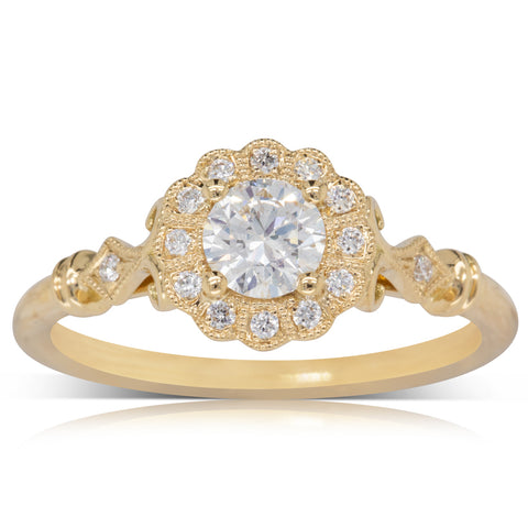 18ct Yellow Gold .40ct Diamond Versaille Ring - Walker & Hall