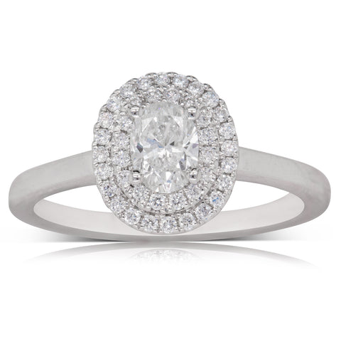 18ct White Gold .50ct Oval Diamond Ring - Walker & Hall