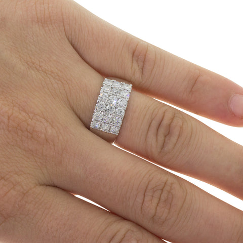 18ct White Gold 1.46ct Three Row Diamond Ring - Walker & Hall