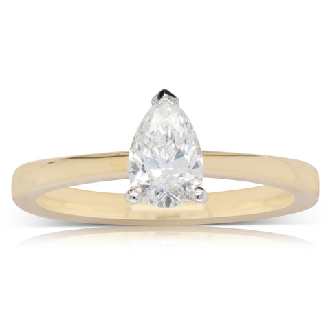 18ct Yellow Gold .70ct Diamond Pear Ring - Walker & Hall