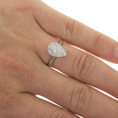 18ct White Gold Diamond Pear Halo Ring - Walker & Hall