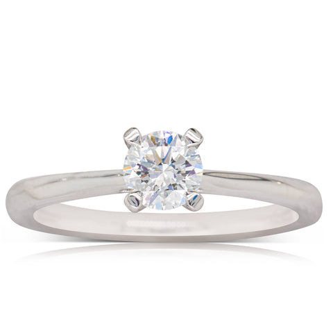 18ct White Gold .50ct Flawless Diamond Ring - Walker & Hall
