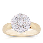 18ct Yellow Gold 1.08ct Diamond Lotus Ring - Walker & Hall