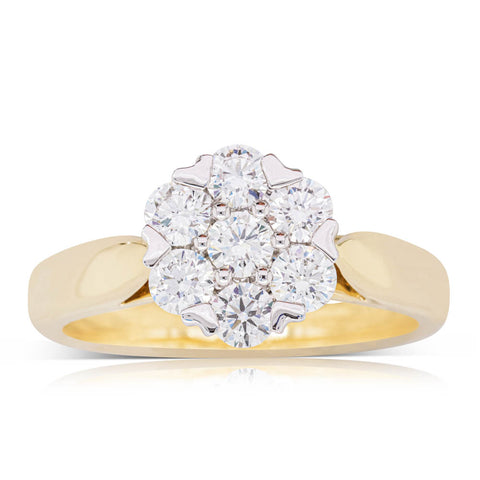 18ct Yellow Gold .82ct Diamond Lotus Ring - Walker & Hall