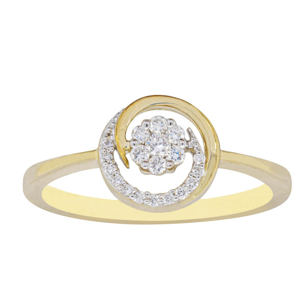 9ct Yellow Gold .14ct Diamond Cluster Ring - Walker & Hall
